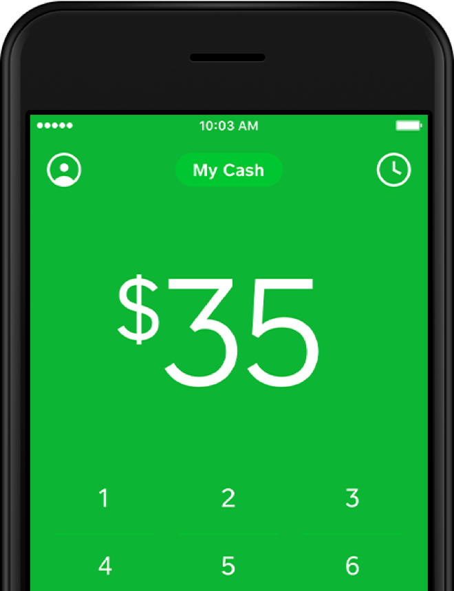 Square Cash app on iPhone with the Cash card